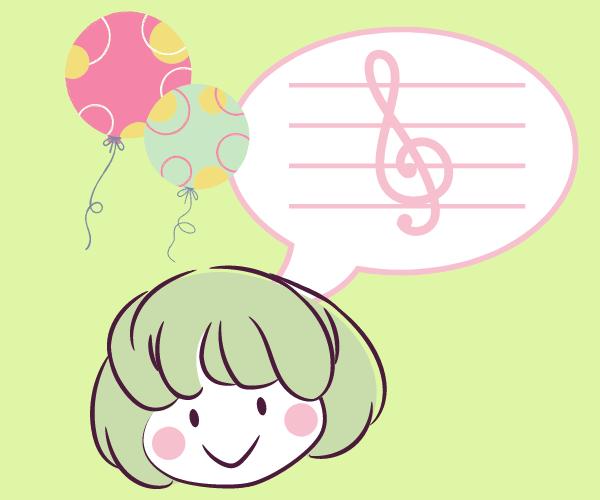 音符と女の子と風船