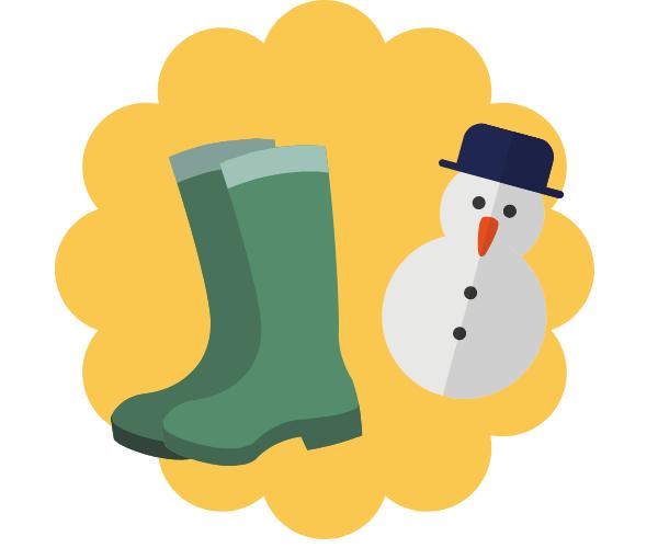 スノーブーツと雪だるま