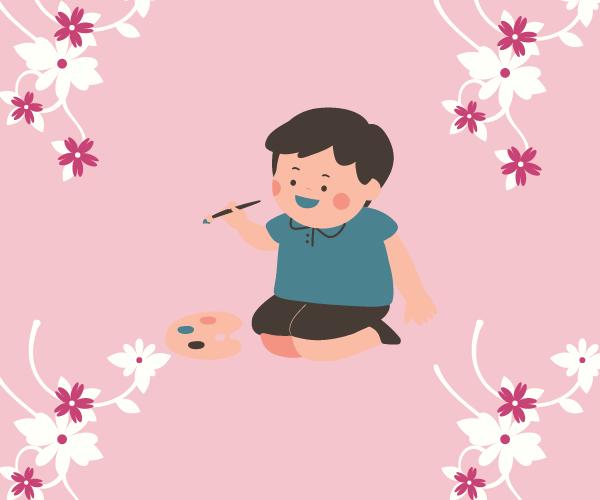 ピンクの花、絵を描く子ども