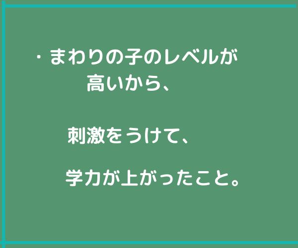 緑色の画面に文字、「レベルが高いから学力上がった。」